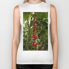 Red Flowers with Green leaf background Biker Tank