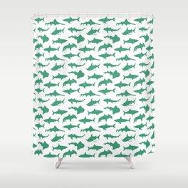 Ocean Green Sharks Shower Curtain