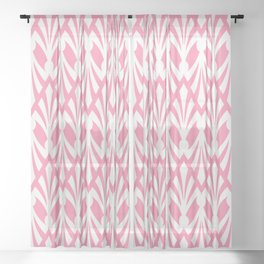 Decorative Plumes - White on Pink Sheer Curtain