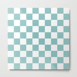 Chalky Blue Checkers Pattern Metal Print