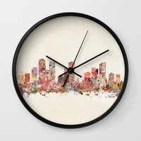 denver Wall Clocks featuring denver colorado by bri.buckley