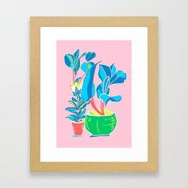 Perky Plants - Pink Blue Multi Framed Art Print