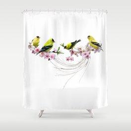 Golden Finches Shower Curtain