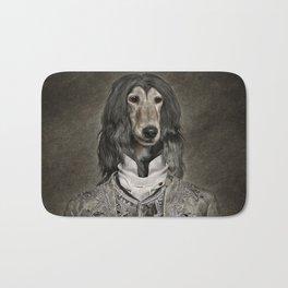 Afghan hound wearing a Louis XIV suit Bath Mat