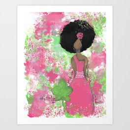 Dripping Pink and Green Angel Art Print