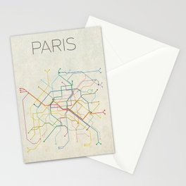 Minimal Paris Subway Map Stationery Cards