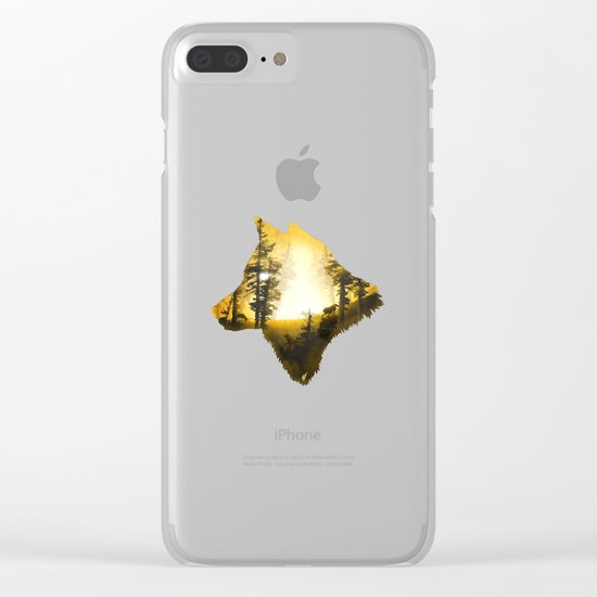 Yellow Wolf Clear iPhone Case