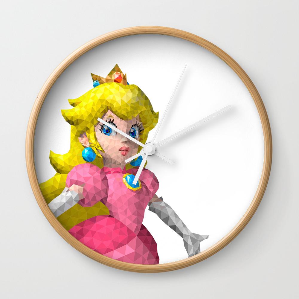 Princess Peach Super Mario Nintendo Illustration Pixel Art Wall Clock