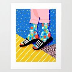 Demo - memphis retro 80s throwback hightop socks styles bright happy art slides Art Print