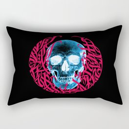Gothic Calligraphy on Skull saying Always Hungry Rectangular Pillow