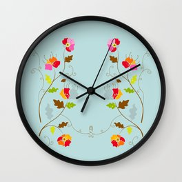 Climbing Floral Vine on Light Cyan Wall Clock