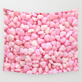 Pink Candy Hearts Wall Tapestry