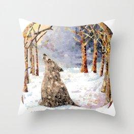 Wolf Serenade Throw Pillow