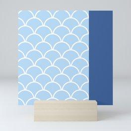 Scallop pattern No.1 in blue color Mini Art Print
