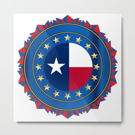 Texas State Flag As A Badge Over White Metal Print