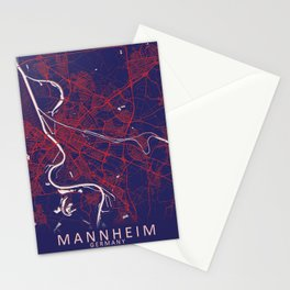 Mannheim, Germany, Blue, White, City, Map Stationery Cards
