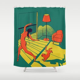 Dancing with the cat   Moody sunset light and shadows Aesthetic Green room Naked dance Femme Fatale  Shower Curtain