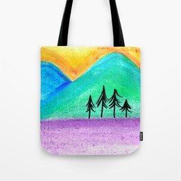 Mountains sunset landscape Tote Bag