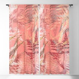 Elegant Coral Gold Fern Leaves Abstract Pattern Blackout Curtain