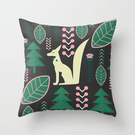 Traditional Christmas festival with fox Throw Pillow