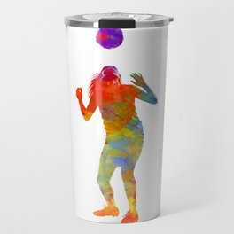 Woman soccer player 13 in watercolor Travel Mug
