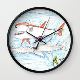 Megamouth Shark & Queensland Sawfish Wall Clock