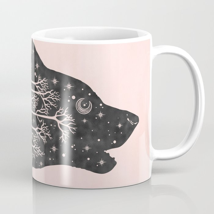 Adventure Wolf - Nature Mountains Wolves Howling Design Black on Pale Pink Coffee Mug