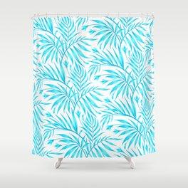 Waikiki Palm - White / Aqua Shower Curtain