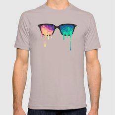 Psychedelic Nerd Glasses with Melting LSD/Trippy Color Triangles Mens Fitted Tee Cinder MEDIUM