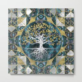 Tree of life - Yggdrasil - Marble and Gold Metal Print