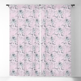 Cute Owl and Cherry Blossoms Pink Gray Blackout Curtain