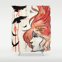 phoenix Shower Curtains featuring Phoenix by Sah Matsui