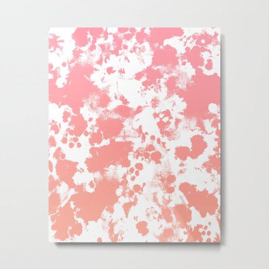 Breah - ombre peach pastel pink glow gender neutral baby nursery office decor Metal Print