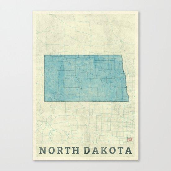 North Dakota State Map Blue Vintage Canvas Print