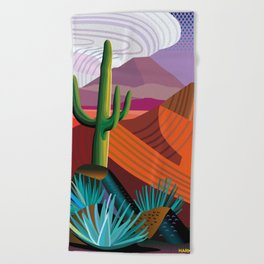 Thunderhead Builds in Arizona Desert Beach Towel