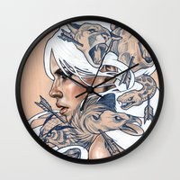 american Wall Clocks featuring The Hunt by Wendy Ortiz