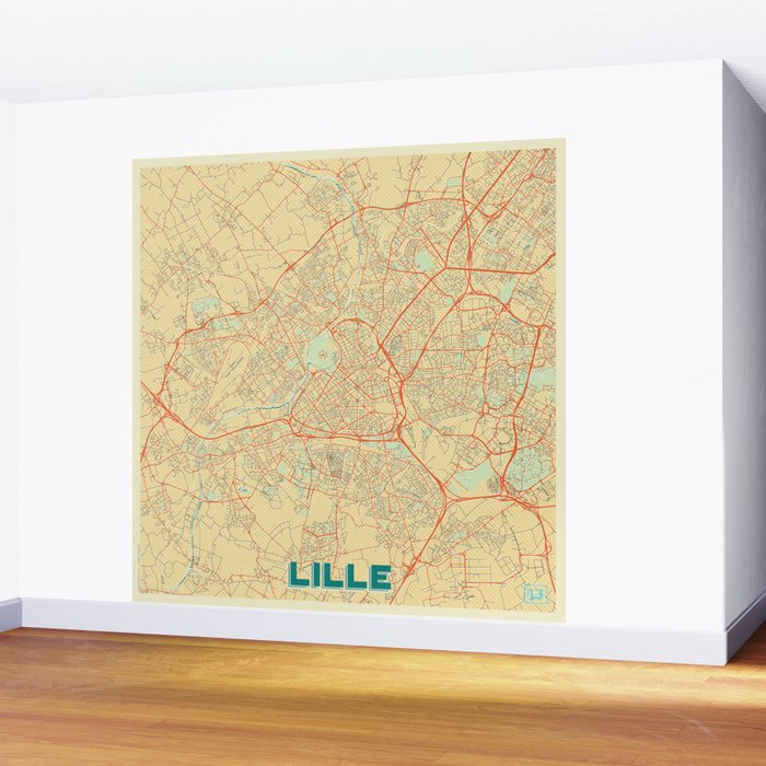 Lille Map Retro Wall Mural
