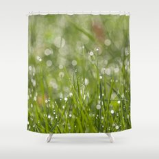 Fresh green meadow - Green grass with waterdroplets sparkling in the sun on #Society6 Shower Curtain