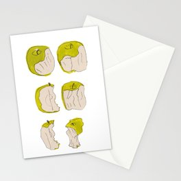 Eating process (Apple) // watercolor apple consumption Stationery Cards