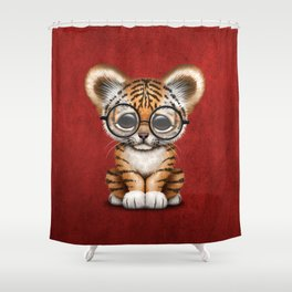 Cute Baby Tiger Cub Wearing Eye Glasses on Deep Red Shower Curtain