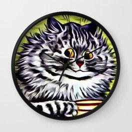 """Louis Wain's Cats """"Kitty On Coffee Break"""" Wall Clock"""