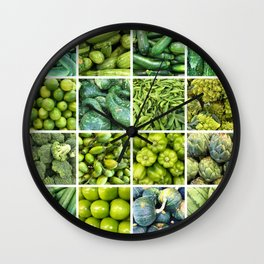 Green Fruits & Vegetables. Home decor: Modern, colorful collage for your kitchen, home and cafe. Wall Clock