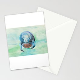 Underwater Manatee Watercolor Stationery Cards