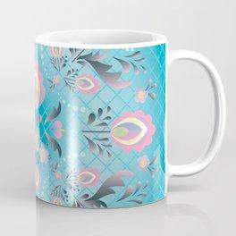 Folk Flowers in Pink and Dusty Blue Coffee Mug