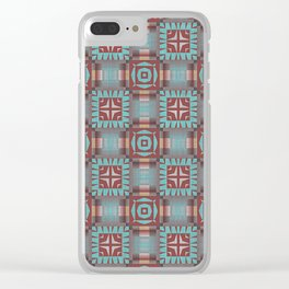Turquoise Coral Red Brown Mosaic Pattern Clear iPhone Case