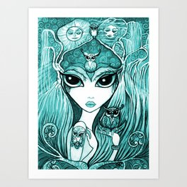 Owlette, The Owl Queen, in Aqua.  Original Illustration Artwork by Sheridon Rayment  Art Print