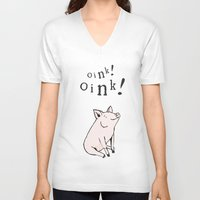 pig V-neck T-shirts featuring Pig by Emily Stalley