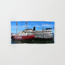 Riverboat Legacy and Fireship Columbia on Columbia River Hand & Bath Towel
