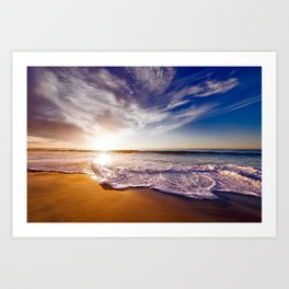 Beautiful California, Los Angeles, USA sandy coast, beach and calm ocean waves at sunset Art Print