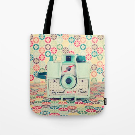 Film Mint Camera on a Colourful Retro Background  Tote Bag